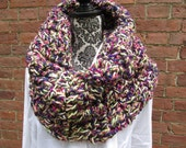 Infinity Scarf Crochet Acrylic Washable Colorful Warm Soft Handmade Cowl Yellow Fuchsia Purple Green