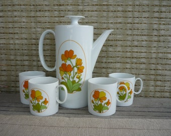 Vintage Tea/Coffee Pot and Mug Set, German Porcelain Tea Set, Thomas, Germany