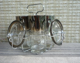 Vintage Silver Ombre Highball Glasses, Set of 4 with Chrome Caddy and Coasters, Mid Century Modern Glassware