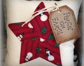 Red Star Snowman Pillow Tuck