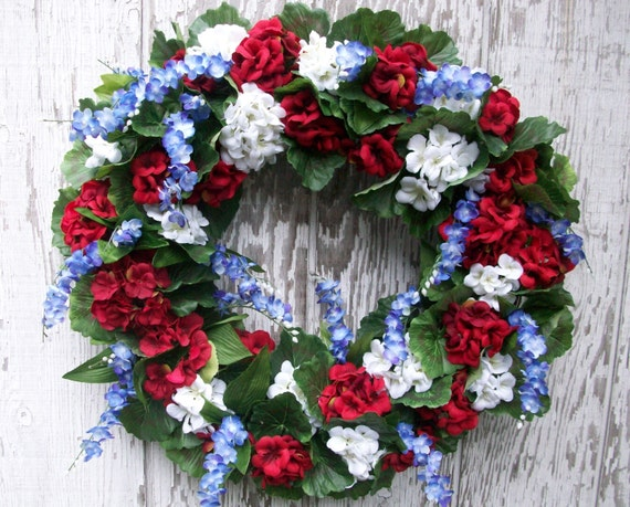 Red White and Blue Wreath Patriotic Wreath Fourth by WreatheHavoc
