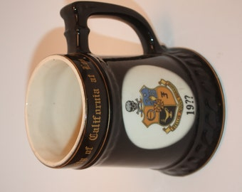 Vintage Ceramic University Of California At Los Angeles Mug, Stein, With Heraldic Crest, and Name Mike on side, Balfour Ceramic