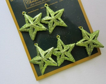 5pcs Green Glitter STAR Ornaments, Decorations, Embellishments