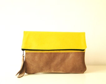 Canvas and leather clutch purse, Lemon Yellow