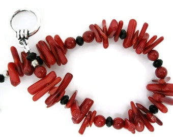 Red Coral Bracelet shell handmade beadwork stick bamboo coral black glass coral beads gift for her