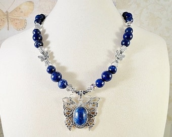 Natural Lapis Lazuli Butterfly Necklace, Royal Blue, Sterling Silver, Jade, Hematite, Crystals, OOAK