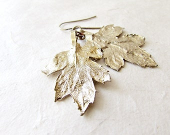 Gold Leaf Earrings, Shimmering Gold Dipped Natural Chrysanthemum Leaves, Rustic Gold Bridal Jewelry, Organic Ethereal Wedding Earrings