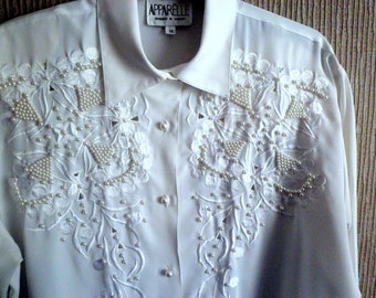 Woman's Pearl Embroidered Blouse size 12/14, Vintage Dress Shirt, White Ladies Blouse, Apparelle of London,