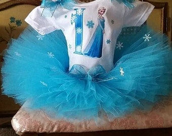 Elsa Frozen Turquoise and White Shirt and Tutu Skirt Birthday Outfit