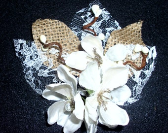 Lace and Burlap Boutonniere and Corsage