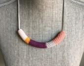 Crochet Cord Necklace // Pinks, Purple + Bright Orange