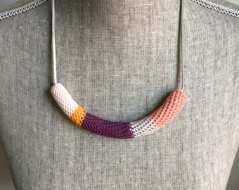 Crochet Cord Necklace // Pinks, Purple + Bright Orange
