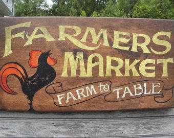 "Farmers Market Sign, original , hand painted. ""faux"" vintage, sign,art,wooden sign ZF FM 4"