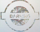 Vintage Map Art // LONDON UNDERGROUND // hand made paper cut from a vintage map of Greater London // BARKING Tube station