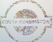 Vintage Map Art // LONDON UNDERGROUND // hand made paper cut from a vintage map of Greater London // South KENSINGTON Tube station