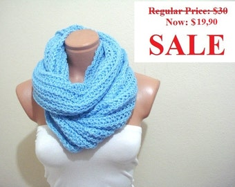 ON SALE knit scarf cowl womens infinity Blue Circular Scarf, knit scarf, cowl  super soft scarf, neckwarmer, gift for women under 25 usd