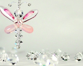 Angel Earrings Butterfly Jewerly Swarovski Crystal Pink Butterfly Earrings Fairy Earrings Whimsical Quirky Wedding Accessories Women's Gift