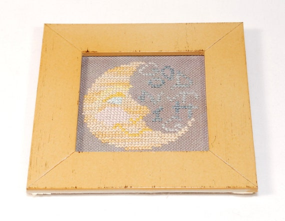 Finished Cross Stitch Good Night Moon Baby Decor Framed