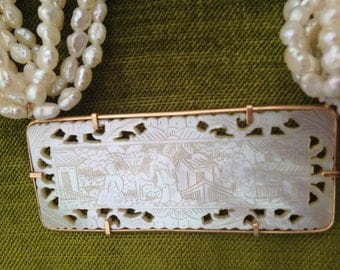 Chinese Mother of Pearl Gambling Counter Jewelry 14K Gold Necklace