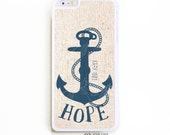 iPhone 6 Plus Case. iPhone 6+ Case. Wood Hope Anchor. Phone Case. iPhone Case. Phone Cases. Case for 6 Plus.
