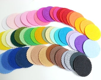 50 Felt Scalloped Circles - 2 inches 50 Colors