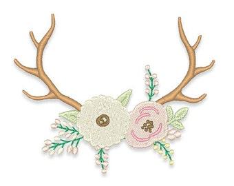 Large Floral Antler Monogram Frame Embroidery Design- Instant Download