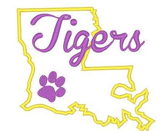 Louisiana Tigers Applique Embroidery Design - Instant Download