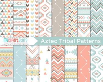 Digital Paper - Tribal / American Indian / Aztec / Navajo / Geometric Patterns - Instant Download