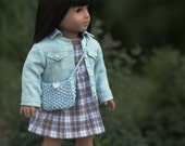 Robin's Egg Blue Linen Jean Jacket, Plaid and Teal Plaid Jumper, Knit top and Knitted Summer Bag for AG Doll...RESERVED for Empress