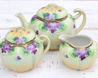Tea Set, Vintage Hand Painted, Porcelain, Tea Pot, Sugar Bowl with Lid and Creamer, Tea Party, Replacement China, Little Princess Birthday