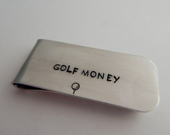GOLF MONEY / Hand Stamped Money Clip / Groomsmen Gift / Hand Stamped Money Clip / Gift for Him / Valentine's Day Gift / Father's Day Gift