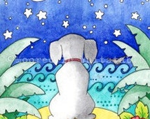 "Greeting Card  - Wishing - Whimsical Animal - 7"" x 5"""
