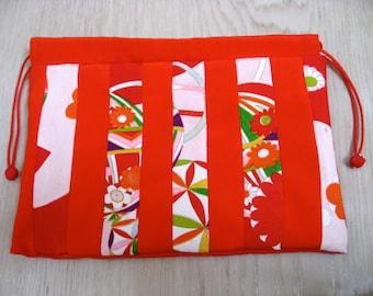 Small bag,Pouch, silk kimono fabric, Striped pattern # 5