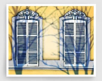 Paris illustration - Shadows - Art Print Poster Paris art Paris decor Home decor Living room art Sunshine Yellow Paris Facade Architecture