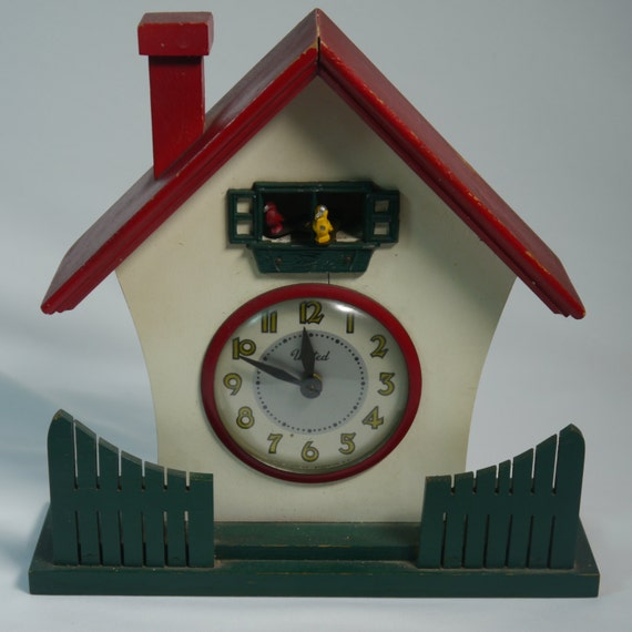 Vintage Children 39 S Birdie Coo Coo Clock House Red Roof