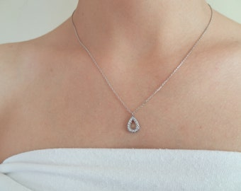 925K Sterling Silver Necklace, Drop Frame Necklace, Zircon Stone Necklace, Wedding Necklace, Feminine,Gift For Him