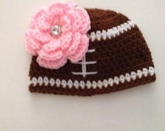 Baby Girl Hat, Crochet Flower Hat ,Newborn Girl Football Hat , Crochet Baby Hat , Flower Beanie , Newborn Photo Prop Made To Order