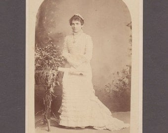 Graduation Cabinet Card of a Young Woman in White