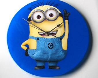 MINIONS Wall Clock made from Original Recycled Vinyl Record LP, fun gift , kids bedroom, boys bedroom, royal blue, yellow, despicable me,