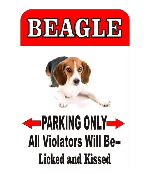 beagle dog sign, parking sign, funny sign, yard sign, indoor/outdoor sign, garage sign, cave man sign, funny metal sign