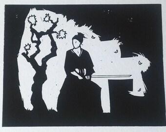 Samurai #1 - linocut black and white print