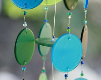 "Recycled Glass Wind Chime ""One of a Kind"", Windchime, Beach Glass,Wedding, Wine Bottle, Blue"