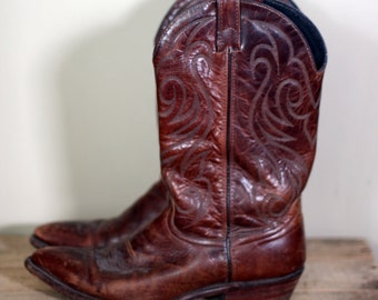 vintage code west brown leather cowboy boots mens size 9.5M