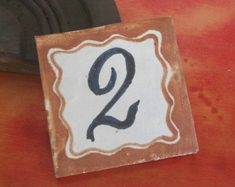 Ceramic Tile House Number / Hand Painted Ceramic Tile