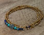 Single Beaded Strand *Gratitude for Each Seed* Necklace N.6- beaded simple,single strand,simple,festive,multicolor,boho,bohemian,artisan