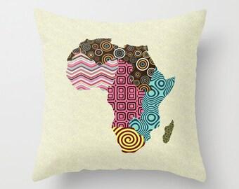 African Pillow, African Pop Art Map Decor Pillow, Afrocentric Decorative Throw Pillow, African Home Decor, Africa