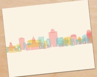 Salt Lake City Skyline Print, Salt Lake City Print, Salt Lake City Art, skyline prints, wall art, skyline art, home decor, poster