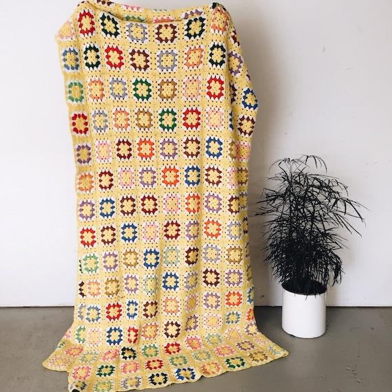 Knitting Pattern Queen Size Blanket : Vintage Crochet Knit Afghan Blanket Quilt-Queen Sized Handmade