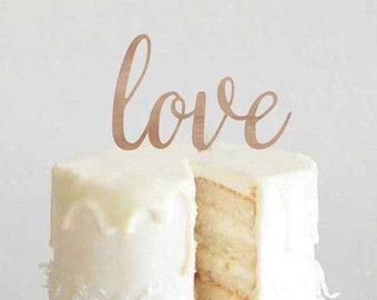Love Typography Cake Topper - Wedding or Anniversary Decoration - Laser Cut on Wood