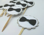 12 Black Bowtie Cupcake Toppers